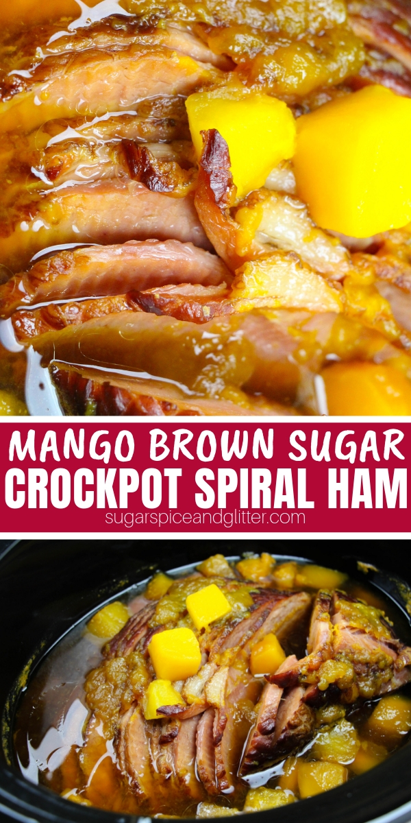 A super simple Crockpot Spiral Ham recipe using just 5 ingredients. This mango brown sugar ham recipe is so flavorful and perfect for kids!
