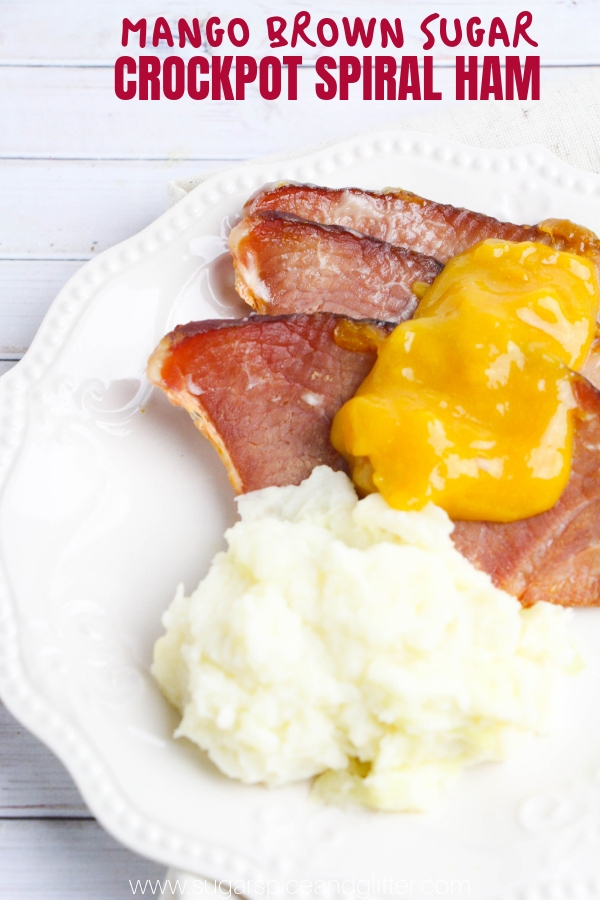 Mango Brown Sugar crockpot spiral ham is the ultimate Easter treat, especially if you top it off with homemade mango sauce