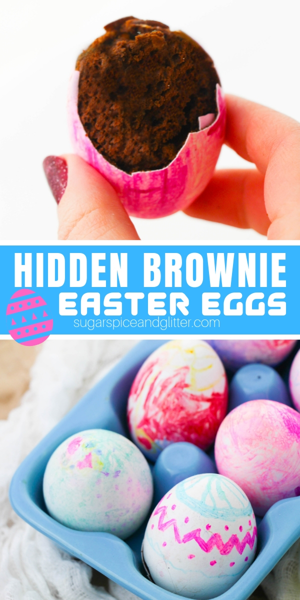 "Your kids will love making these ""Hidden Easter Egg Brownies"" as a special Easter surprise! They are super easy to make and double as Easter table decor"