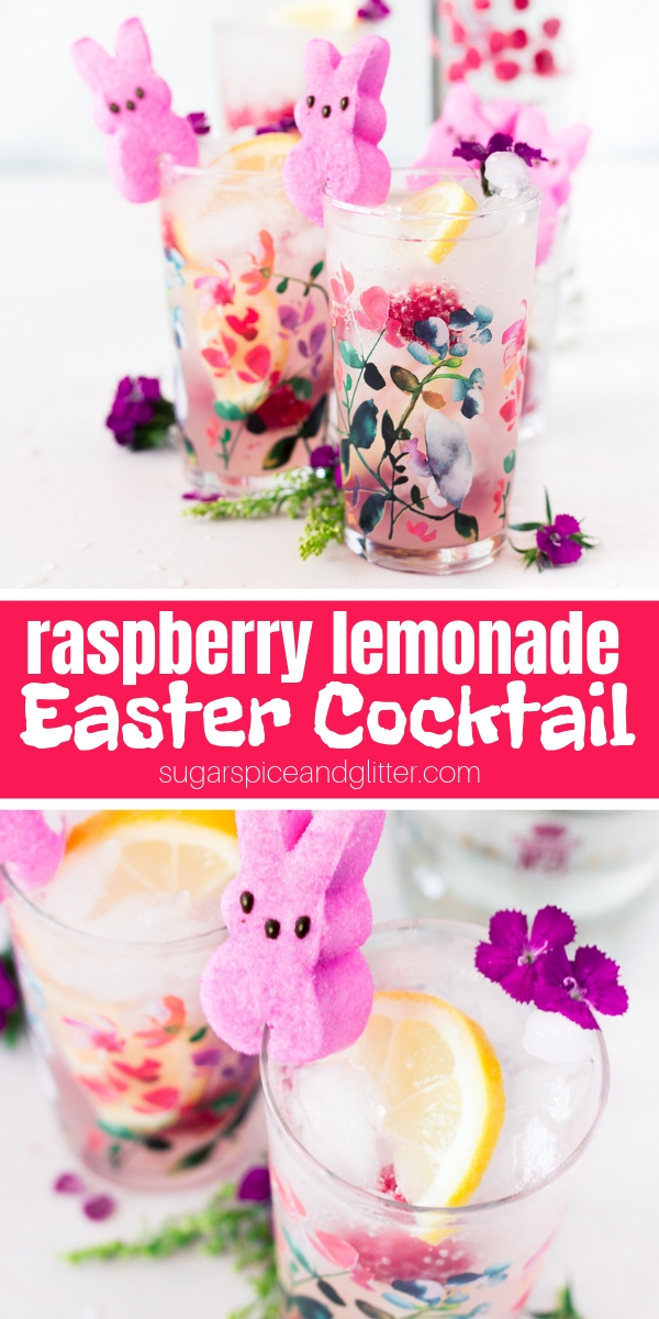 A fresh raspberry vodka cocktail perfect for Easter! This PEEPS cocktail is light, bright and refreshing - and only 3 ingredients plus garnish