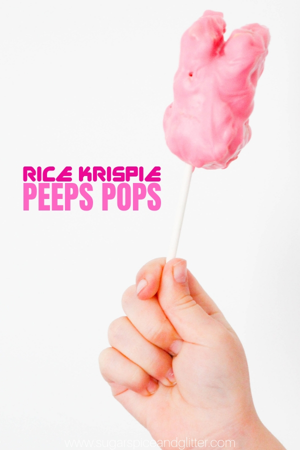 The cutest Bunny dessert for Kids! These Easter Rice Krispie Treats are shaped like PEEPS and made in a fun pop form to keep little hands clean