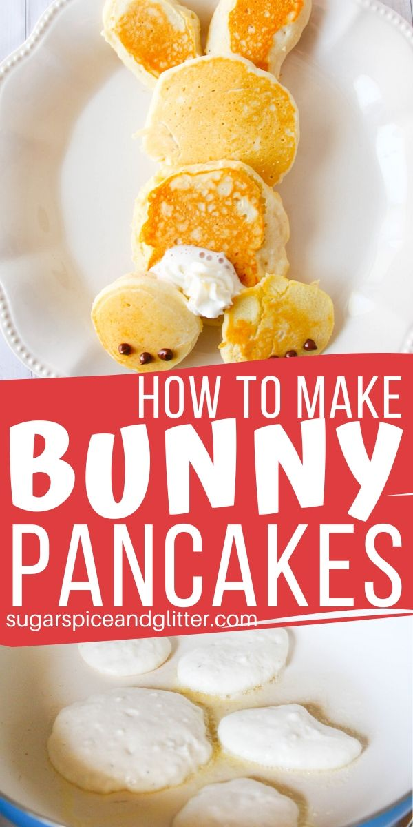 How cute are these Easter Bunny Pancakes for a quick Easter breakfast? And super simple to make - check out our quick tutorial including the best fluffy pancake recipe!