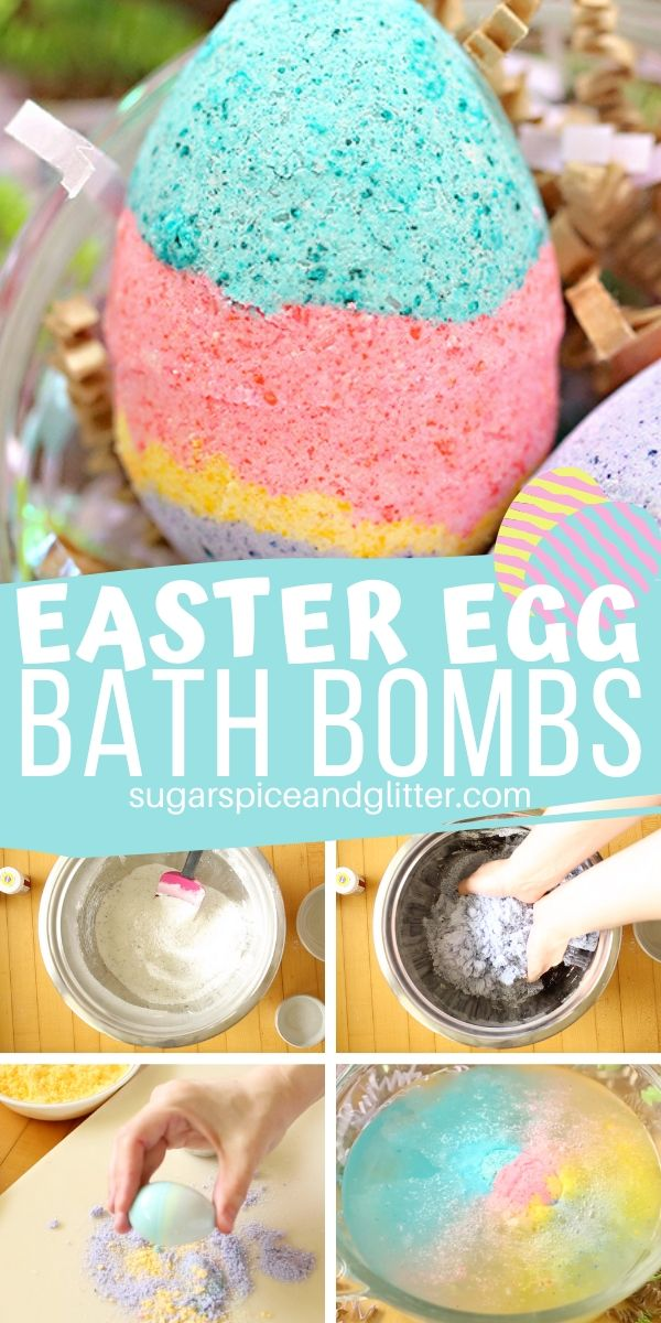 A quick and easy homemade bath bomb recipe for Easter Egg Bath Bombs, a thoughtful homemade Easter gift for kids