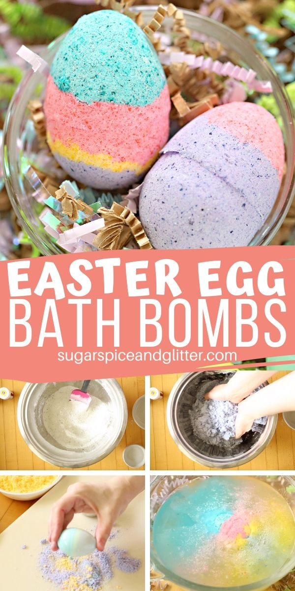 A fun homemade bath bomb for Easter baskets, these Easter Egg Bath Bombs are an easy homemade Easter gift that doubles as a fun Easter activity for kids on a rainy Spring day!