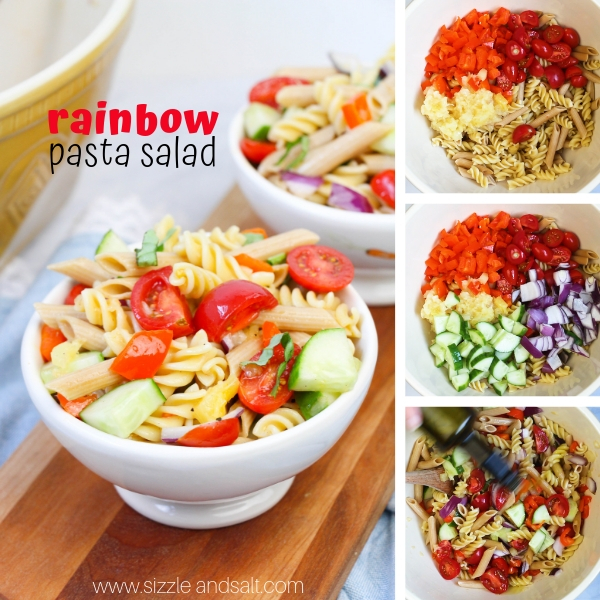 How to make a flavorful rainbow pasta salad recipe with plenty of veggies