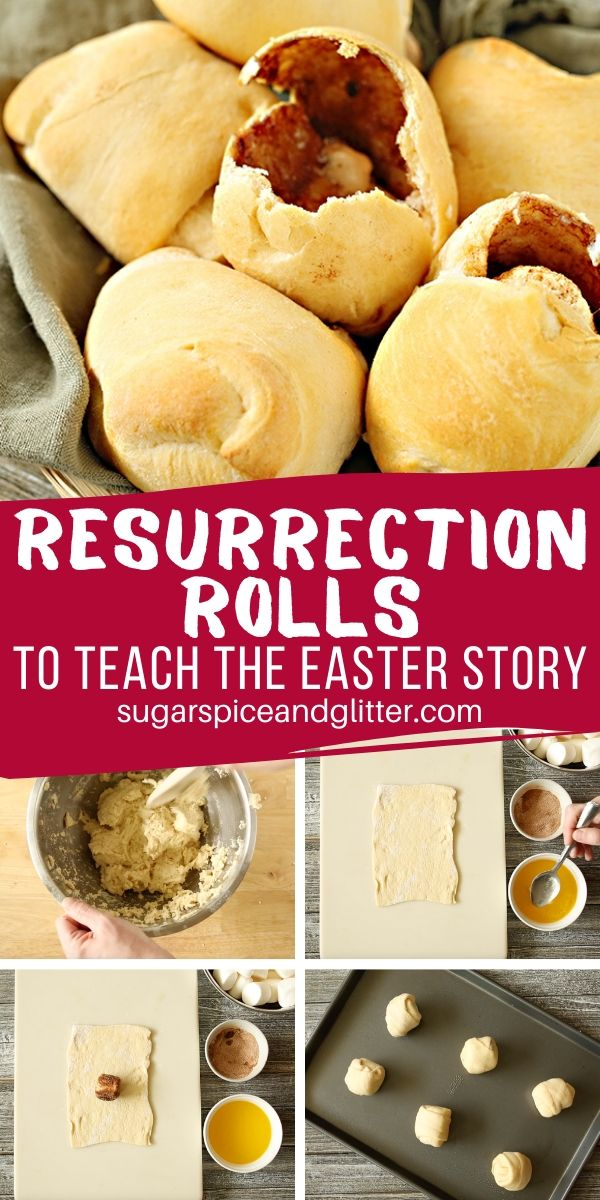 A delicious Easter recipe for kids, these Empty Tomb Resurrection Rolls tell the story of Jesus' resurrection through the steps of the recipe! A great hands on way to tell the Easter Story