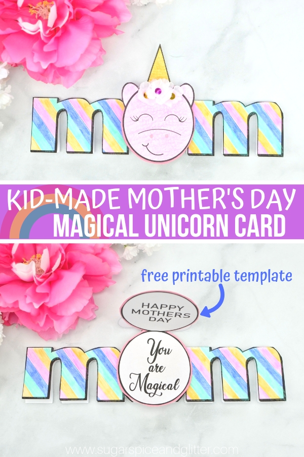 image relating to Happy Mothers Day Printable Card called Unicorn Moms Working day Card (with Video clip) ⋆ Sugar, Spice and