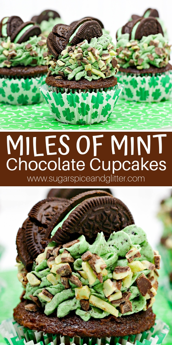 Are you ready for MEGA Mint Chocolate flavor? This over-the-top Mint Chocolate cupcake recipe uses Andes Mints, Mint OREOs and homemade chocolate cupcakes for the ultimate mint chocolate dessert