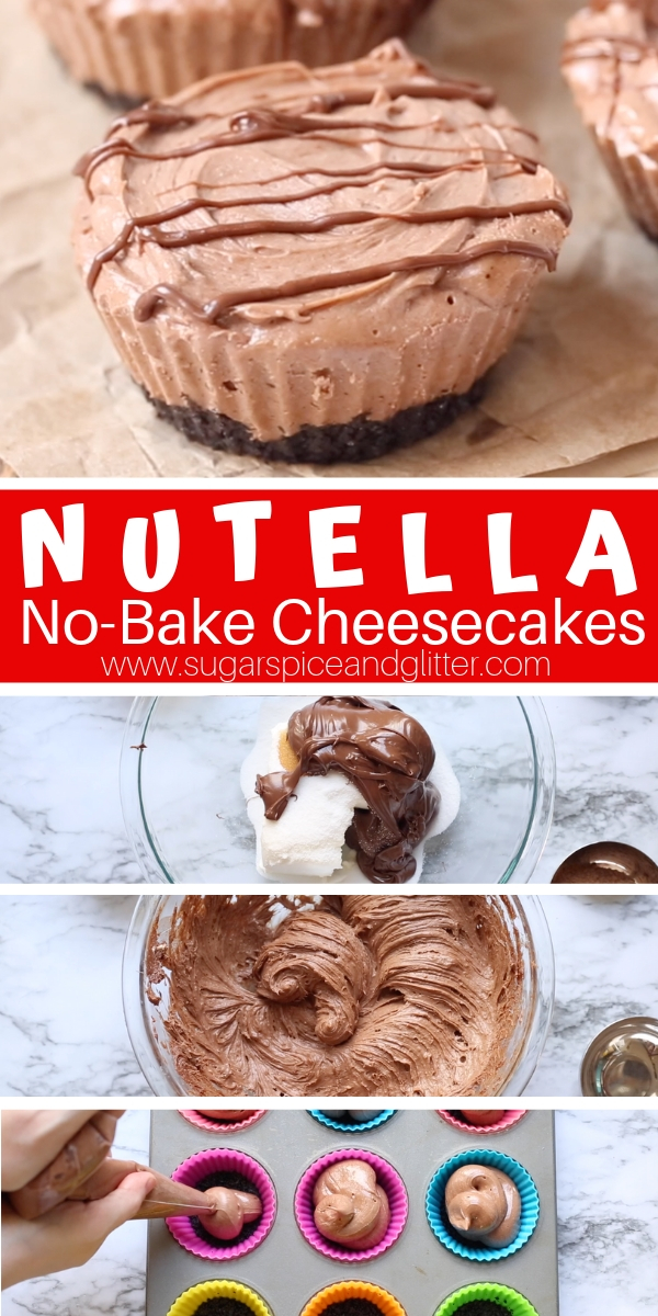 A delicious no bake cheesecake recipe for Mini Nutella Cheesecakes - the perfect Nutella dessert for true Nutella lovers!