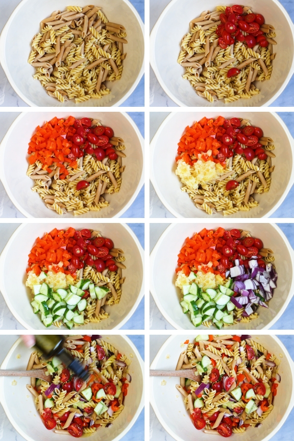 How to make a rainbow pasta salad