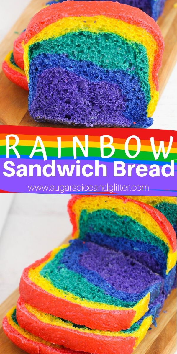 A super easy recipe for homemade Rainbow Sandwich Bread - perfect for making rainbow grilled cheese or adding a special colorful touch to any simple lunch