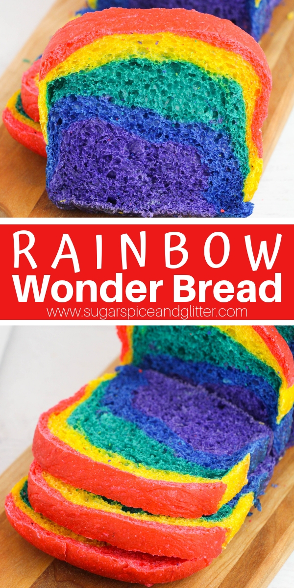 This Rainbow Wonder Bread is an easy homemade sandwich bread recipe for a rainbow party, rainbow lunch boxes, or just a special rainbow snack for kids!