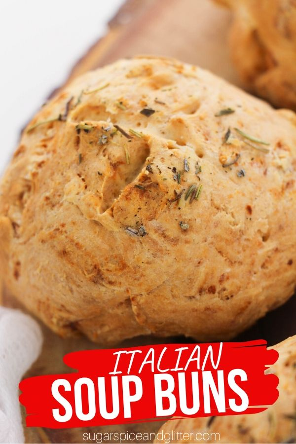 These homemade Italian soup buns are perfect for dipping in soup or making into individual soup bread bowls.