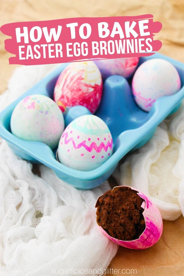 How to make Easter Egg brownies - right in the shell! A fun Easter dessert inspired by Cascarones