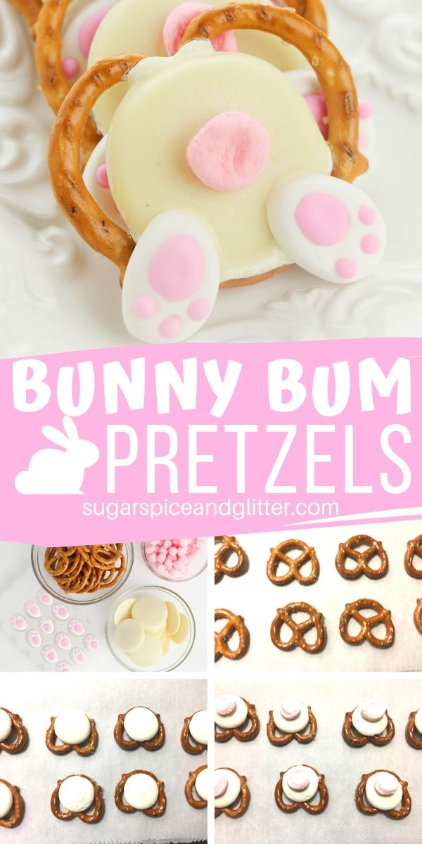 A simple tutorial (plus video) for how to make adorable Bunny Bum Pretzels, a sweet and salty Easter dessert everyone will love