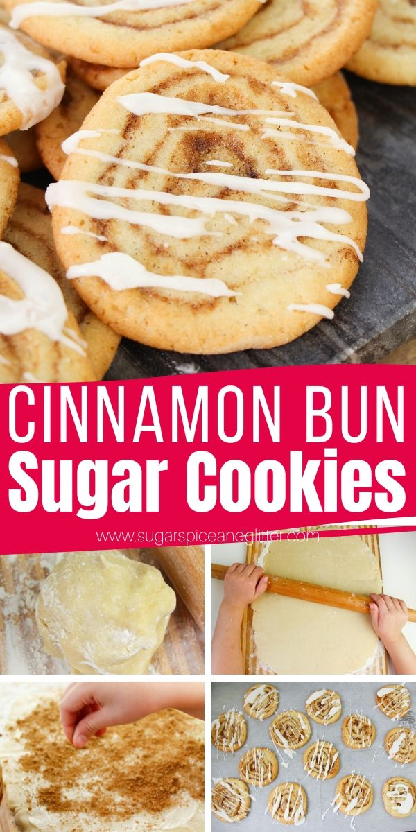 How to make cinnamon bun sugar cookies, a melt-in-your-mouth vanilla cookie with a brown sugar-cinnamon swirl and optional frosting or candy melt drizzle. These cookies are the perfect baking project to make with the kids