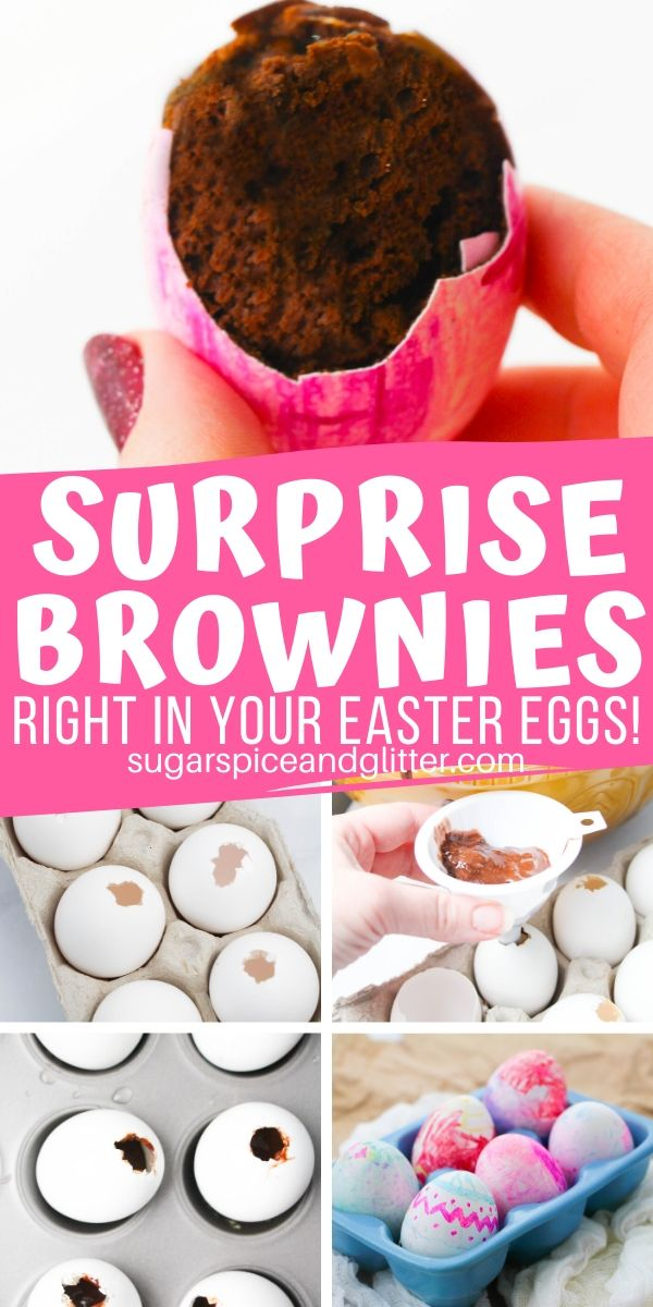 """Your kids will love making these """"Hidden Easter Egg Brownies"""" as a special Easter surprise! They are super easy to make and double as Easter table decor"""