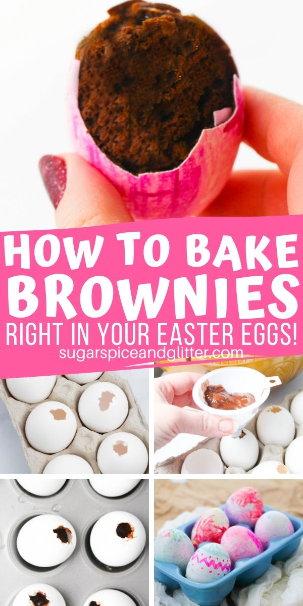 A super simple Easter dessert that everyone will be excited to crack into! These brownies are baked right into egg shells, which you can then decorate with edible food markers