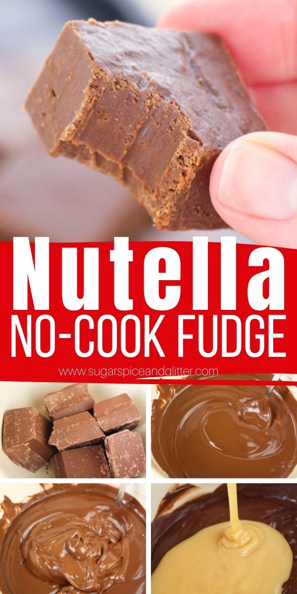 How to make Nutella Fudge, an easy no-cook fudge recipe with only 3-ingredients and only requiring 10 minutes of prep time. This creamy, rich Nutella fudge is the perfect homemade gift for Nutella lovers