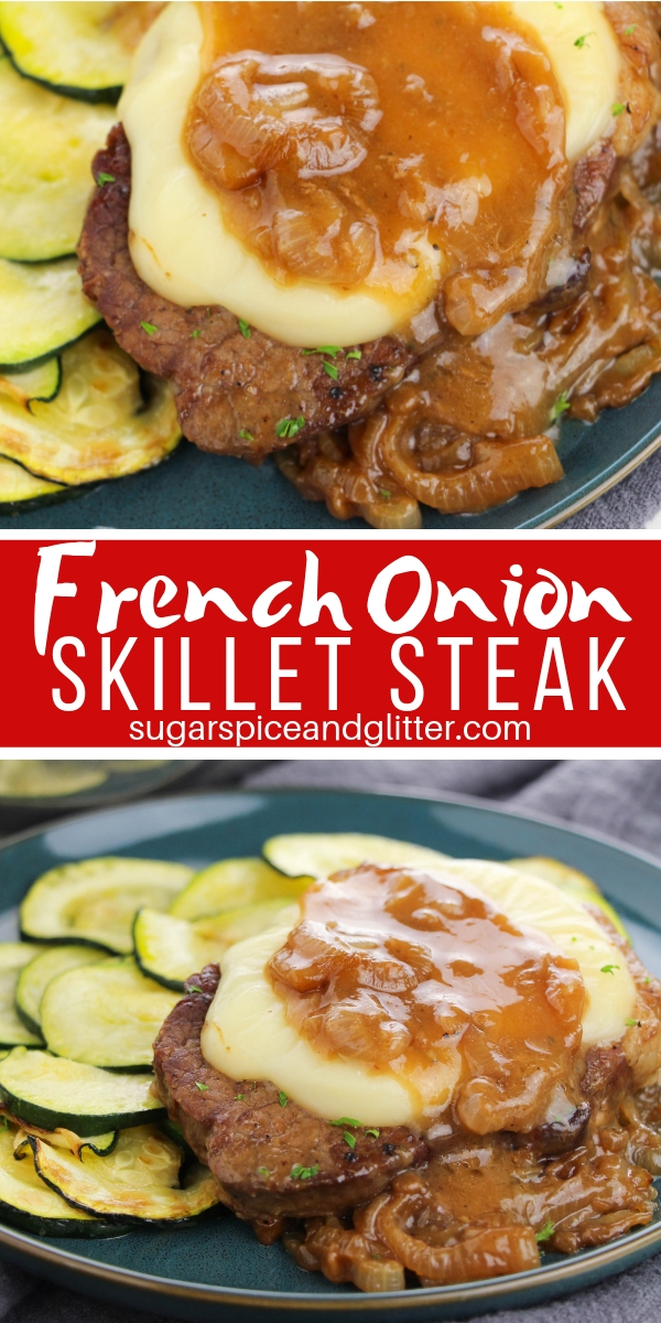 If you like French Onion Soup you are going to love this French Onion Steak recipe, prepared entirely in a skillet for a one pot meal the whole family will love