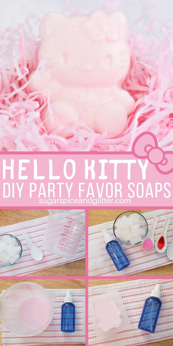 A step-by-step guide for homemade Hello Kitty soaps, the perfect homemade gift or party favor for a Hello Kitty birthday party