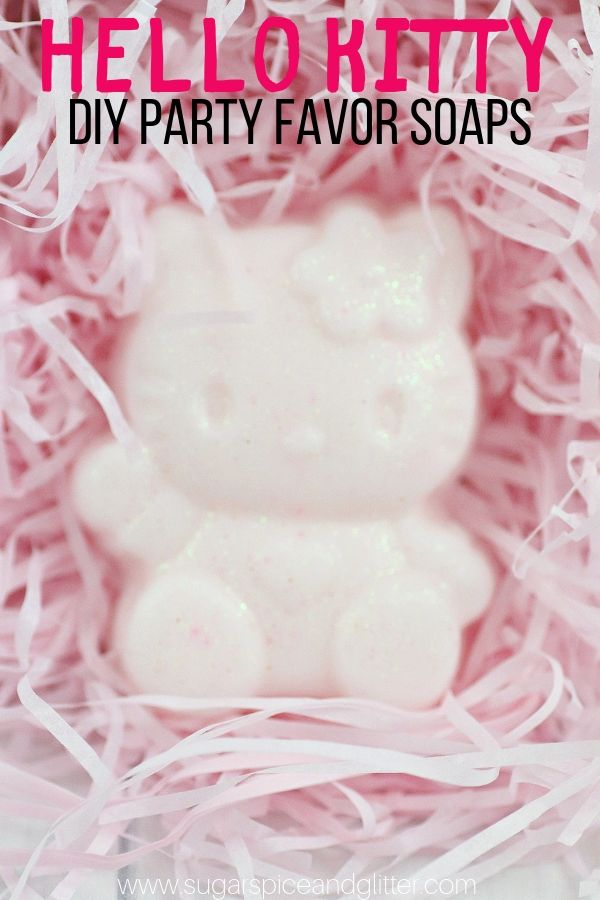 A super simple Hello Kitty soap DIY perfect as a Hello Kitty party favor, or a homemade gift for a Hello Kitty fan
