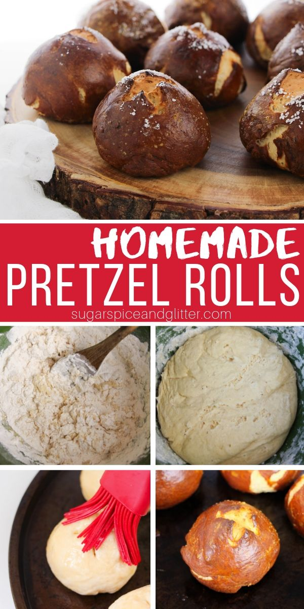 A quick and easy recipe for homemade pretzel rolls, the perfect easy bun recipe for party sandwiches, or to pair with a bowl of soup