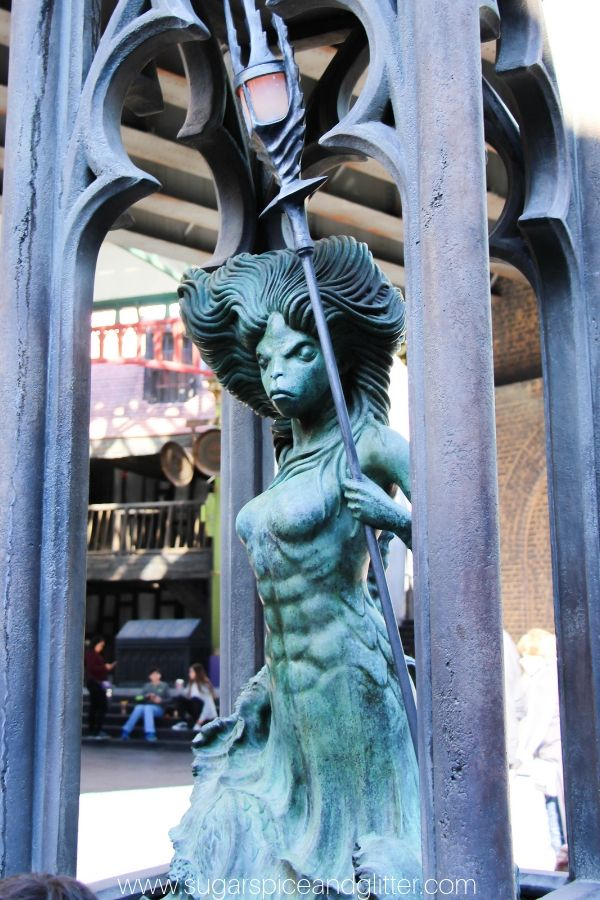 The mermaid fountain at Harry Potter World is one of the best spell spots for interactive wands