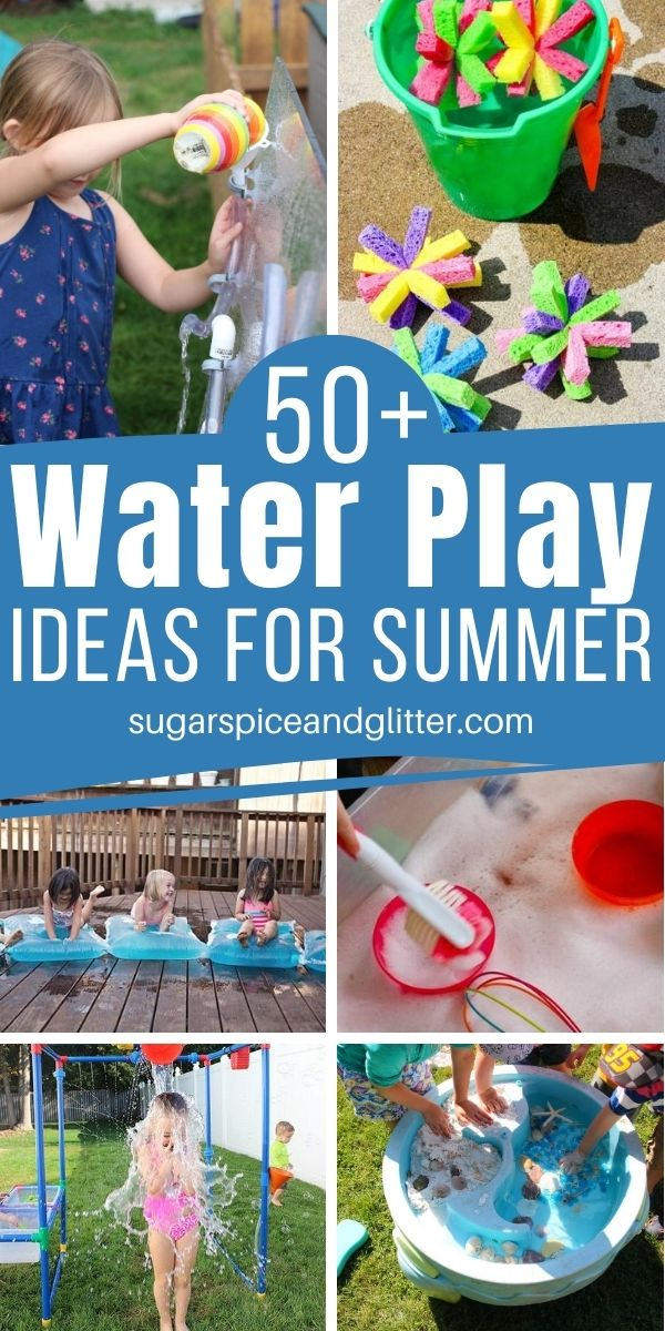 Over 50 Ways to Make a Splash this summer! Cool off with these fun water play ideas for kids - great for sensory play, getting outside and being active. From DIY ideas for kids to unique water toys the kids will love