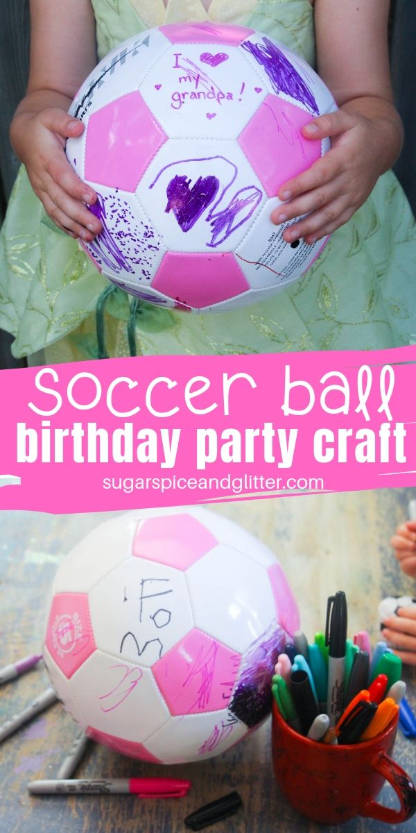 A special birthday party craft that doubles as a thoughtful gift for a birthday girl or boy! Have all guests customize one panel of a soccer ball as a birthday keepsake