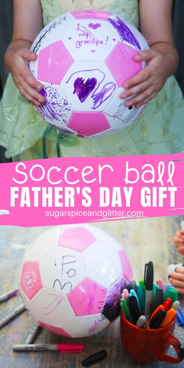An awesome Father's Day gift kids can make, let kids customize a soccer ball for the Soccer Dad in their life!