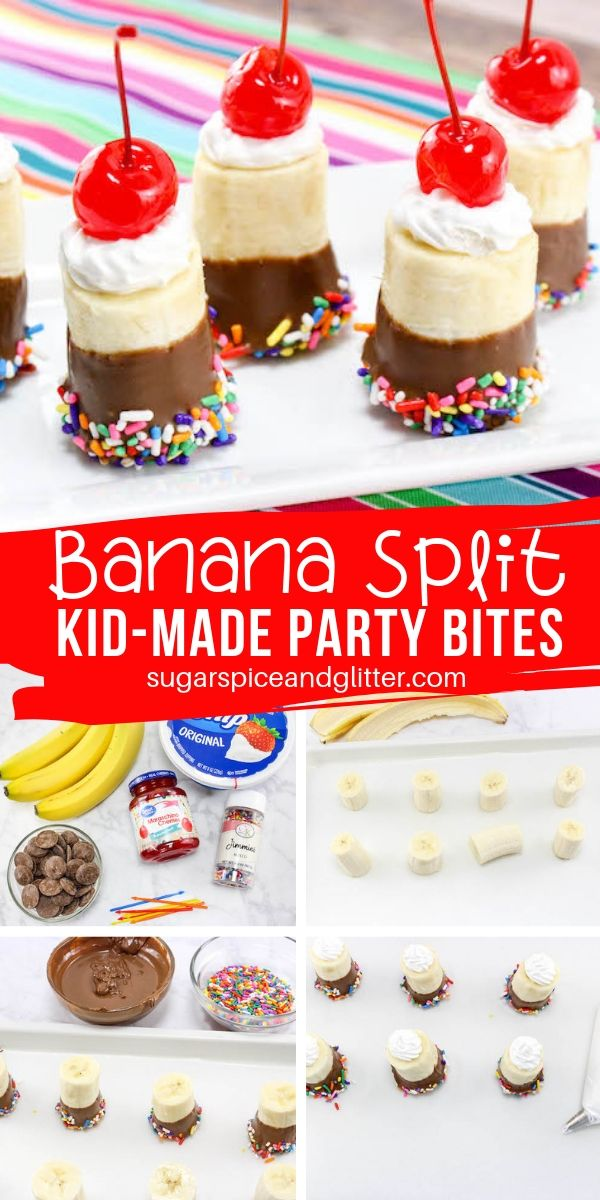 A fun kid-made Banana Split Dessert, perfect for ice cream parties or a family movie night, these cute no-bake desserts are super easy to make!