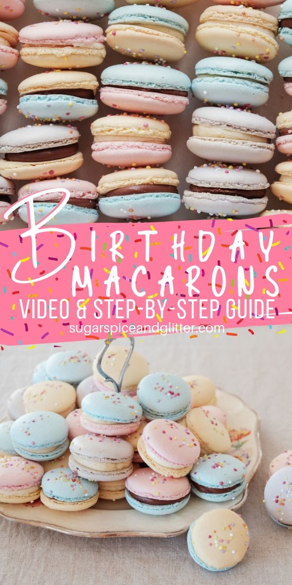 These pretty pastel macarons are perfect for the birthday girl who doesn't like cake. A sophisticated yet fun birthday dessert recipe