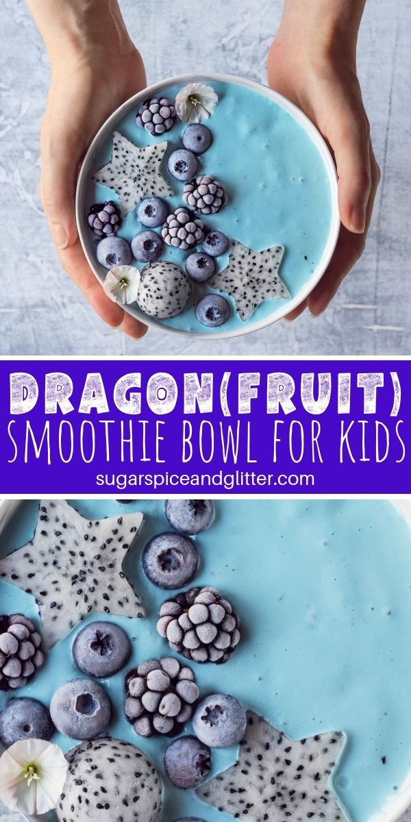 Who said kids don't like spirulina? This dragon-inspired smoothie bowl is great for getting kids excited to try this superfood