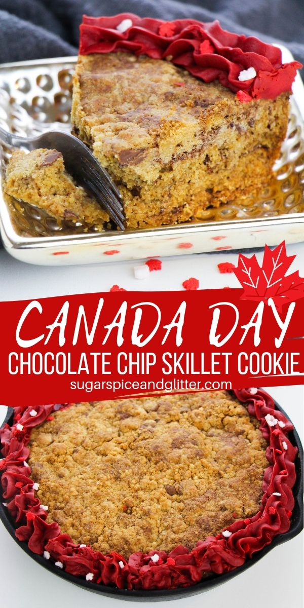 A fun patriotic recipe for Canada Day, this Canada Day Skillet Cookie transforms the classic Doubletree chocolate chip cookie into a decadent dessert