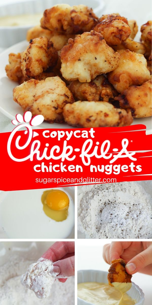 Simply the best ever Chick-Fil-A Chicken Nuggets Copycat recipe, this homemade chicken nugget recipe has two secret ingredients that make all the difference