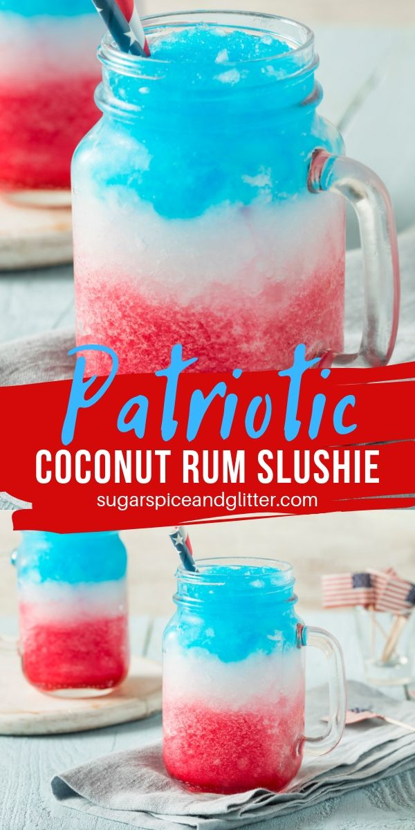 This Coconut Rum Slushy is the perfect patriotic drink for the summer; icy, cool and flavorful with plenty of rum!