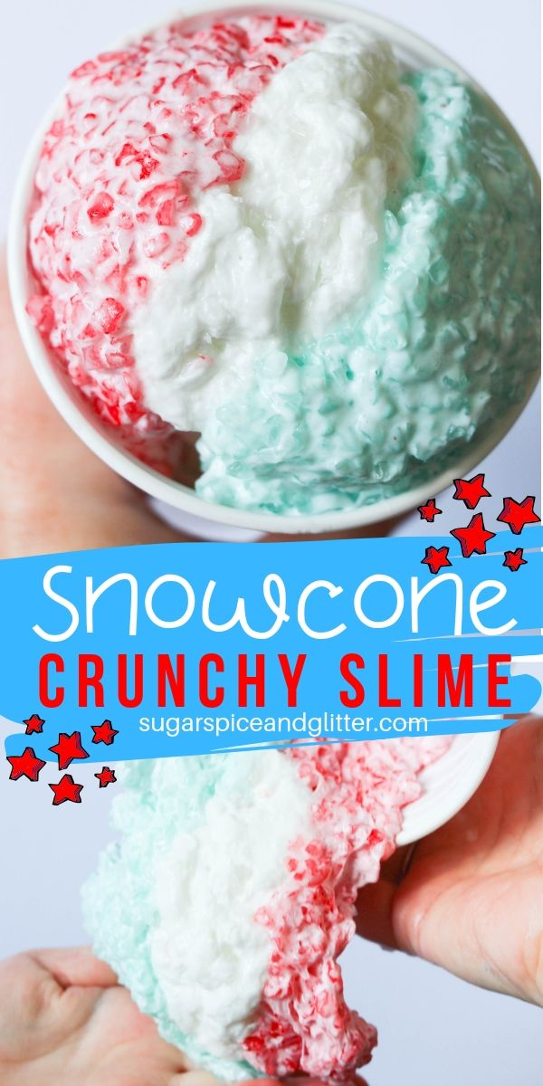Celebrate summer with this Snowcone Crunchy Slime, a fun 4-ingredient slime recipe that is a completely different sensory experience than any other slime you've made before!