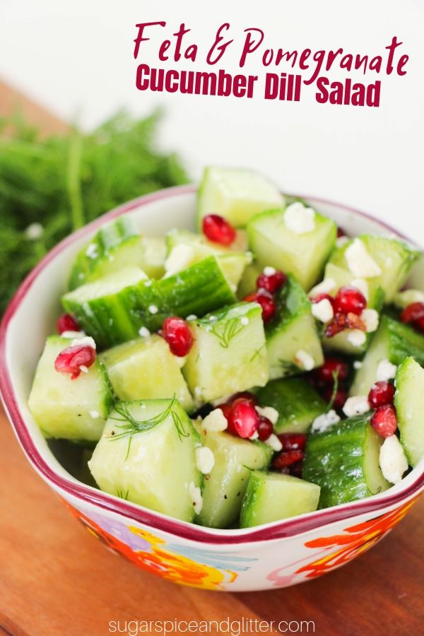 Easy Cucumber Dill Salad recipe with feta and pomegranate - your kids won't complain about eating this crunchy, flavorful salad!