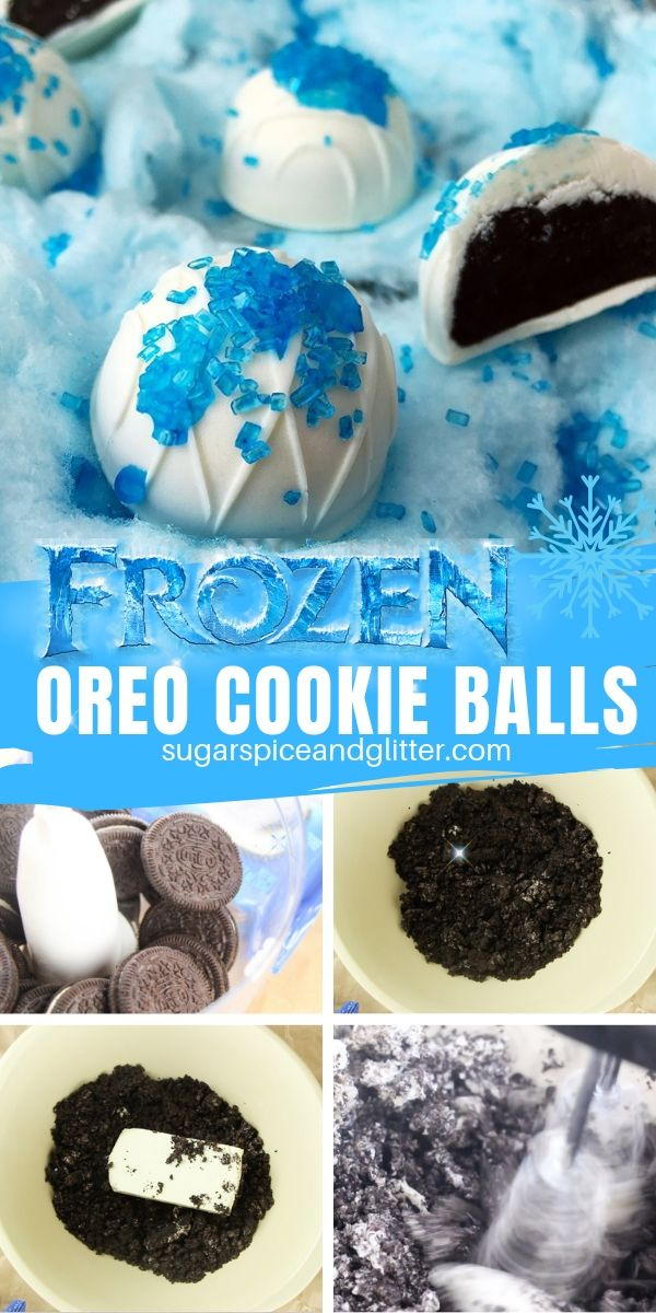 How to make no bake OREO cookie balls, the perfect Disney's Frozen dessert for a Frozen birthday party or movie night