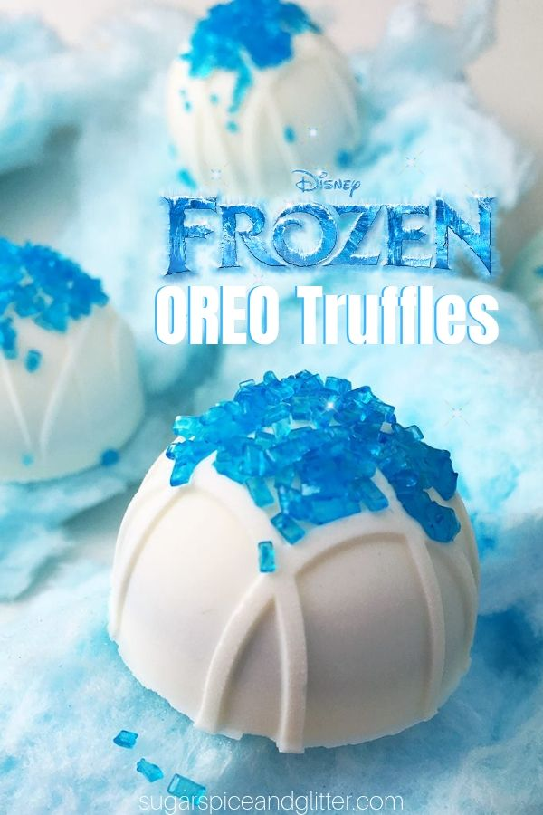 These OREO Cookie Truffles are a fun no bake dessert perfect for any Frozen theme! Whether you're just having a Frozen family movie night or having a lavish Frozen birthday party, these cookie balls will be a total hit!