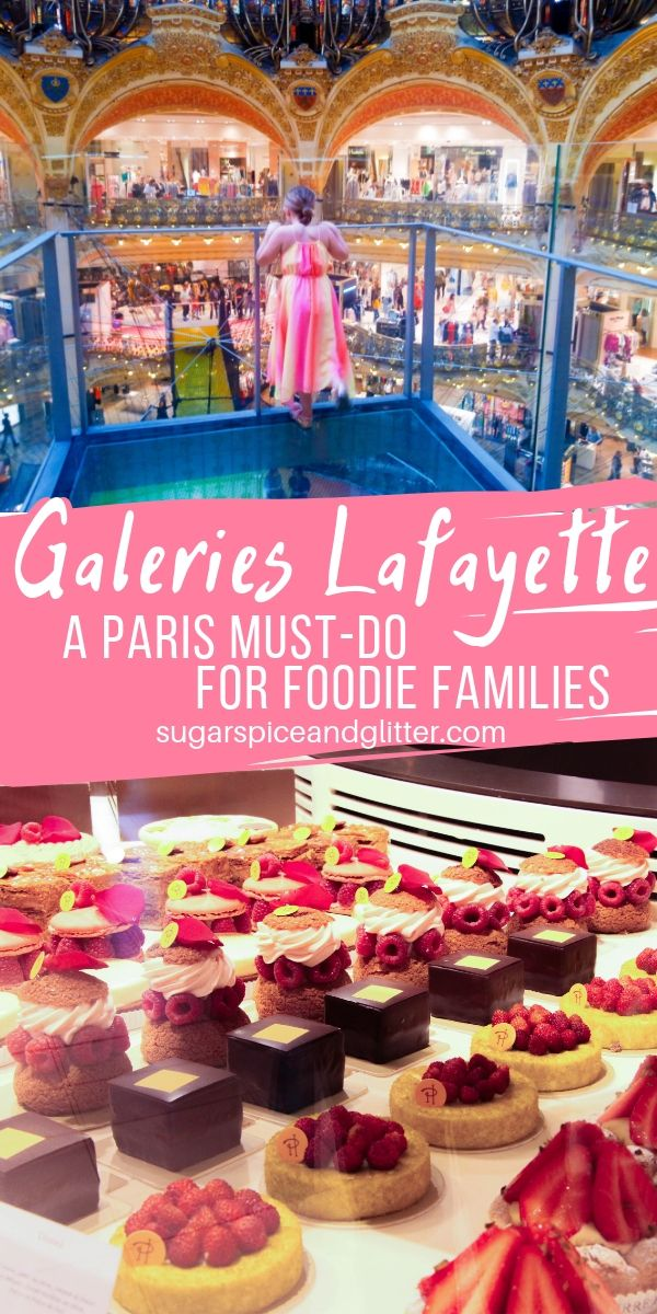 Galeries Lafayette Haussman in Paris has something for the whole family - children's baking classes, gourmet food stalls, VIP shopping, fun photo opps, and more restaurants than you can fit into one vacation