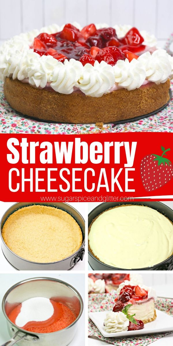 How to make a classic Strawberry Cheesecake with homemade strawberry cheesecake topping. This luscious, rich and tangy cheesecake is made without a waterbath and is possibly the easiest baked cheesecake you will ever make