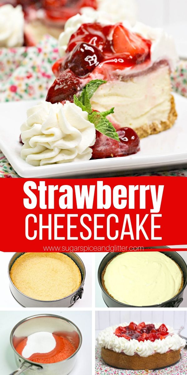 This easy strawberry cheesecake recipe is light, rich and tangy with a creamy cheesecake filling, buttery graham cracker crust and the best strawberry topping for cheesecake you will ever taste. Taking it completely over the top is a simple homemade whipping cream frosting that won't melt as quickly as plain whipped cream and adds a little something special to this cheesecake.