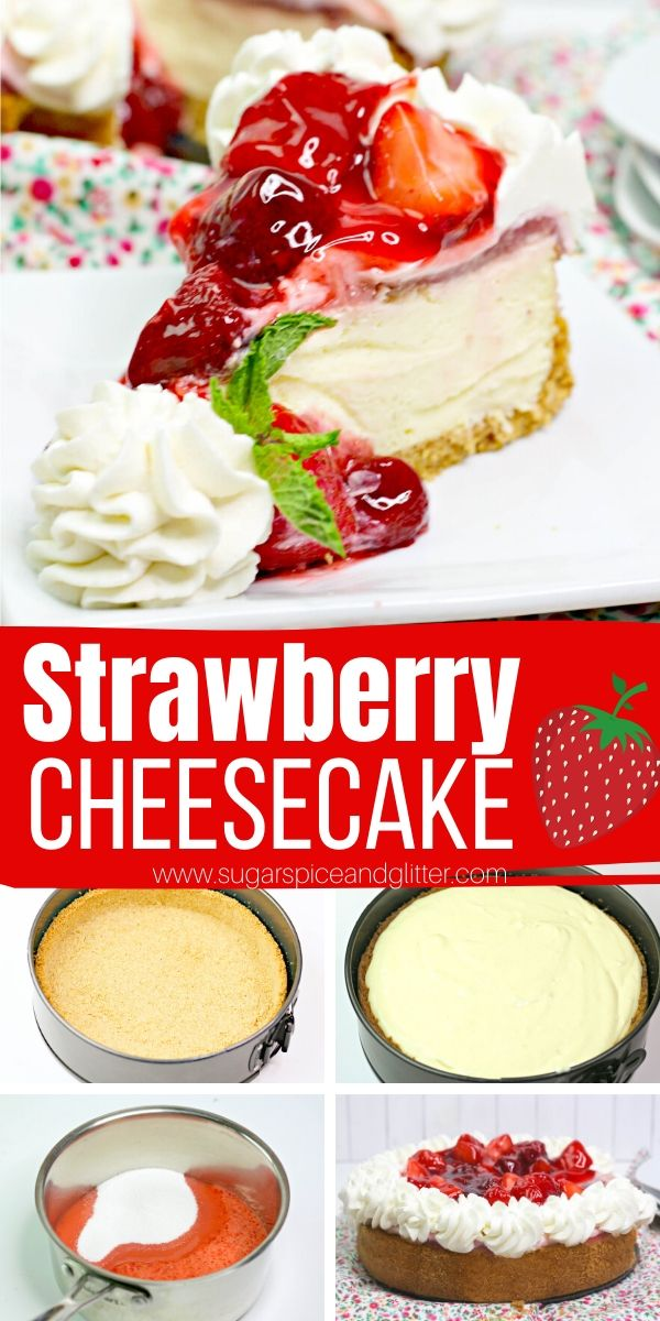 A decadent homemade strawberry cheesecake - without a waterbath! A simple vanilla cheesecake topped with homemade strawberry topping, this summer dessert is absolutely restaurant-quality