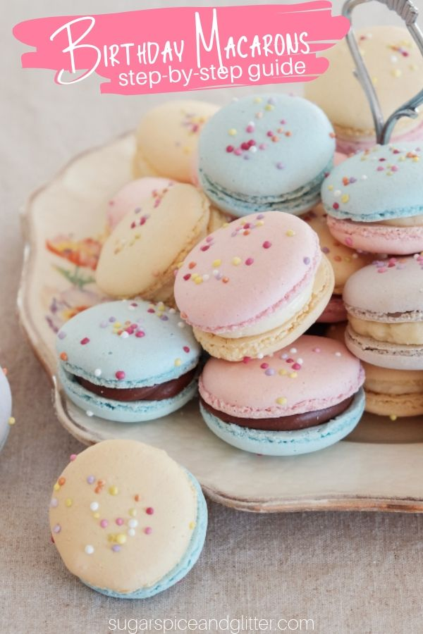 Birthday Cake Macarons, a festive and easy macaron recipe for beginners. These pretty pastel macarons are filled with a simple chocolate buttercream for the perfect birthday cookie recipe