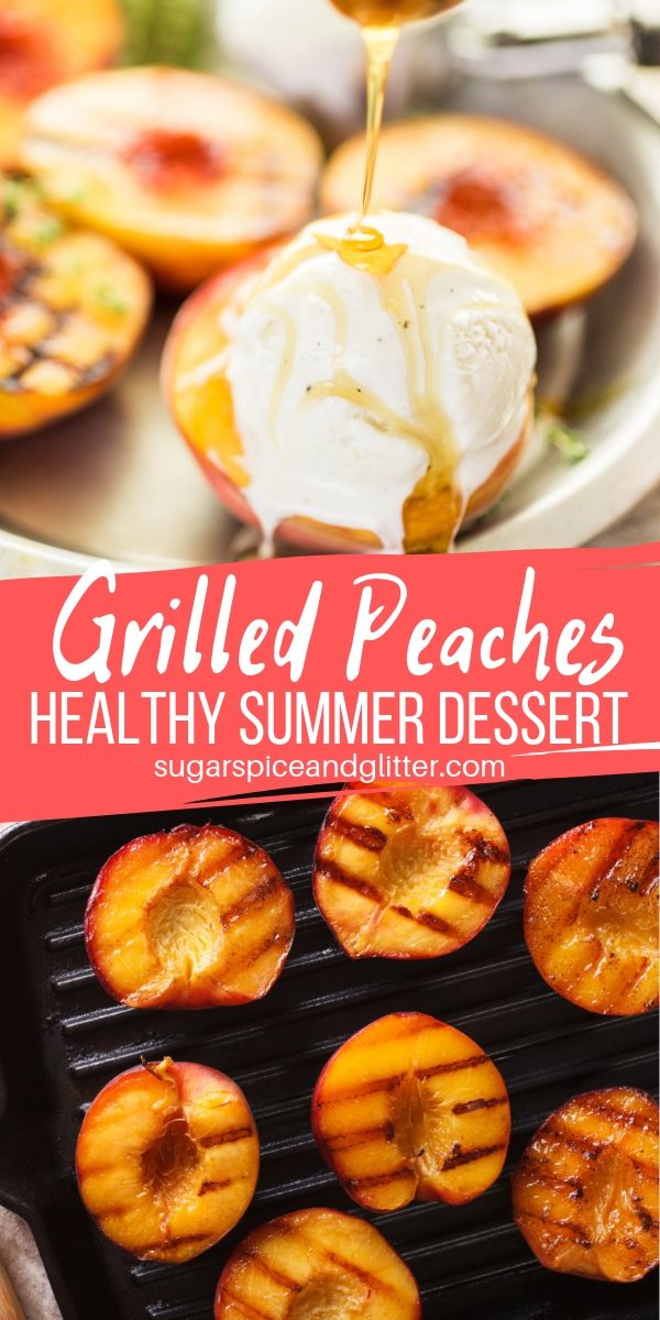A healthy summer fruit dessert, these Grilled Peaches can be served on their own, with a scoop of ice cream, or with a drizzle of honey. Juicy, caramelized peaches that can be made on the BBQ or an indoor grill