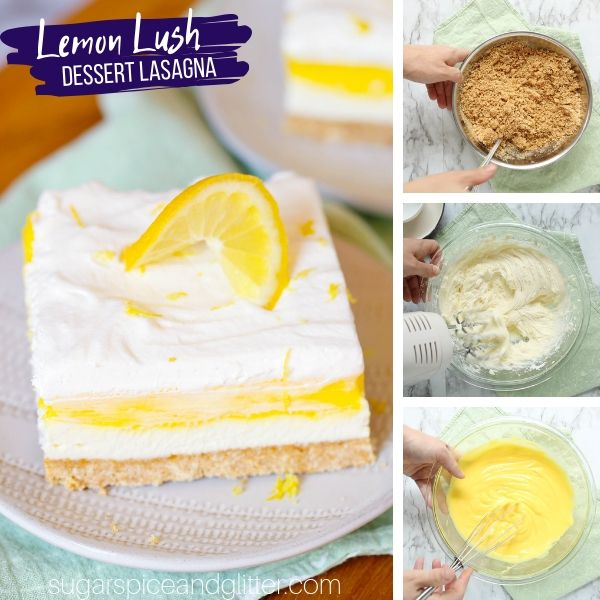 How to make a lemon lush, a 4-layered dessert lasagna with graham cracker crust, cream cheese filling, lemon pudding, and whipped cream topping
