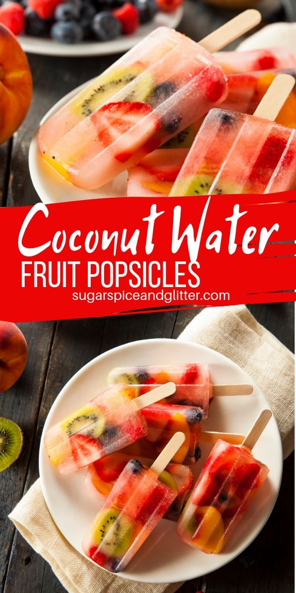 Coconut water is hydrating and nutritious, so why not use it to make some rainbow fruit popsicles! These coconut water popsicles are perfect for kids this summer