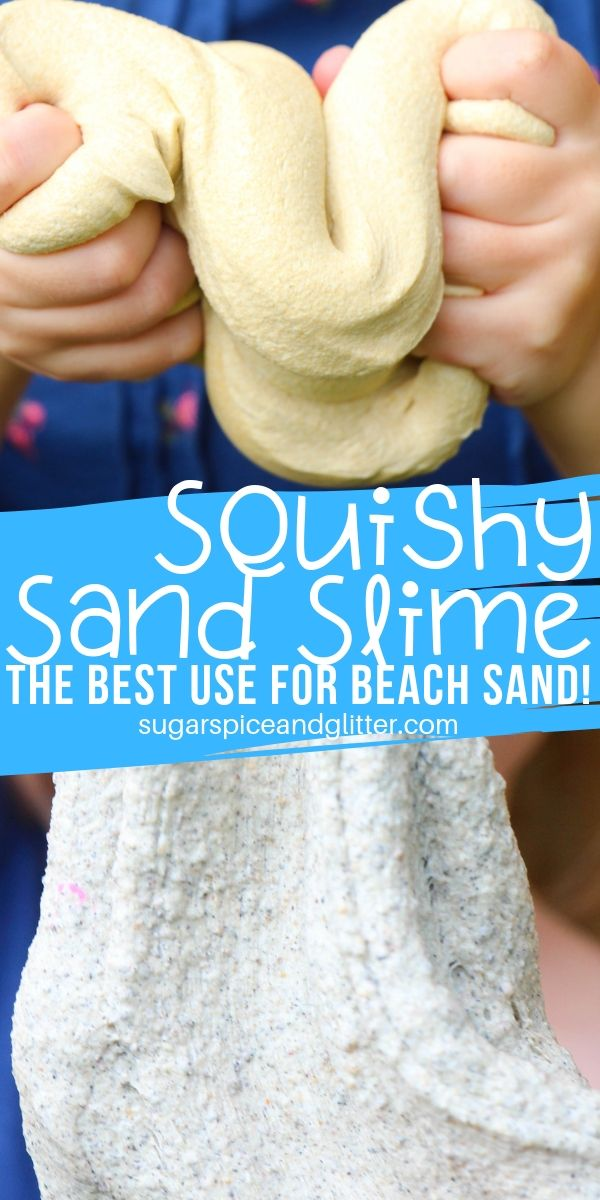 You can make this squishy sand slime two different ways - with beach sand or craft sand (or even playbox sand!) A fun textured slime that's only 4 ingredients